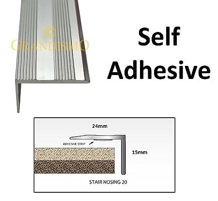 Grandismo 3ft - Stair Edging - Self Adhesive Stick Down - Edge Nosing Tread  Strip - Tile/Laminate/Wood Aluminium to Vinyl - Threshold Metal Door Trim