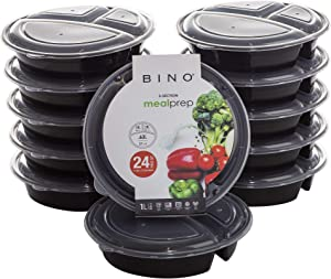 BINO Meal Prep Containers with Lids - 3 Compartment - Round / 33 oz [12-Pack], Black - Bento Box Lunch Containers for Adults Food Containers Meal Prep Food Prep Containers Set