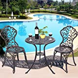 Giantex 3 Piece Bistro Set Cast Leaf Design Antique Outdoor Patio Furniture Weather Resistant Garden Round Table and Chairs w/ Umbrella Hole (Leaf Design)