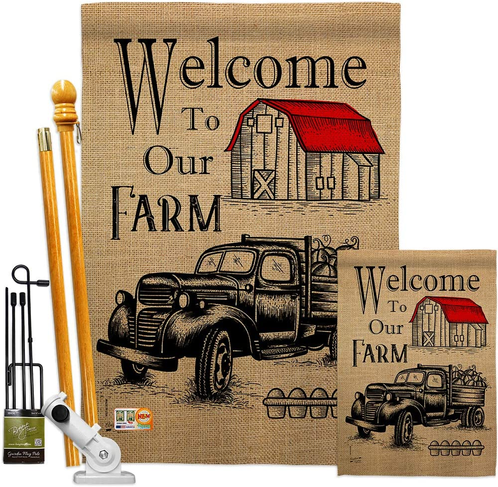 Angeleno Heritage Primitive Welcome Farm Garden House Flags Kit Country Living Western Barn American Rustic Cowboy Rural Ranch Small Decorative Gift Yard Banner Made in USA 28 X 40