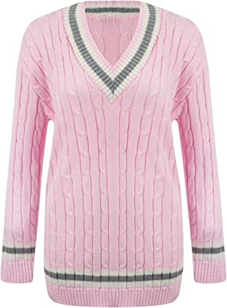 WOMENS LADIES CRICKET WARM LONG SLEEVE CABLE KNITTED V NECK JUMPER TOP SIZE 8-26