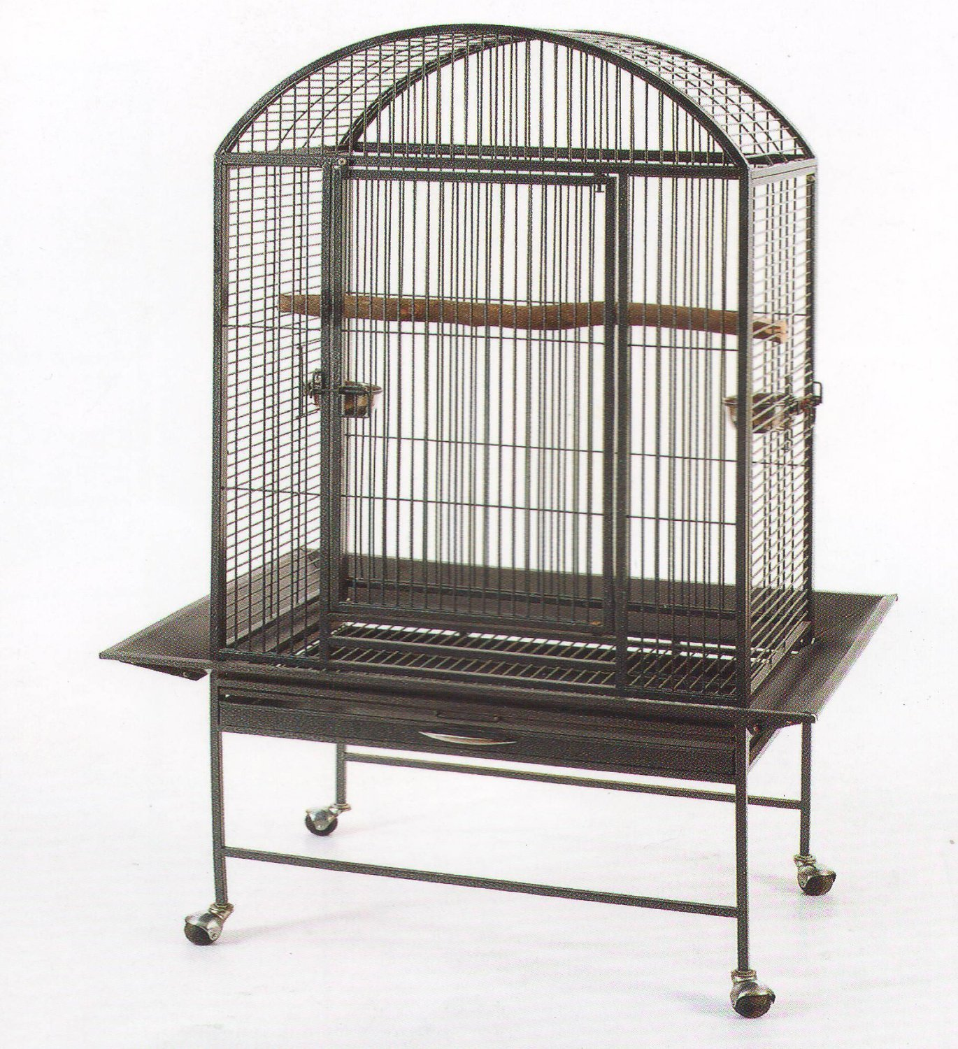 2 Color, New Large Wrought Iron Bird Parrot Finch Macaw Cockatoo Cage Dome Top; 28 x 20 x 61H Mcage