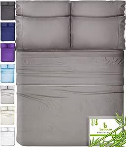 6 Piece Bamboo Sheets Queen Bamboo Sheets - 100% Organic Bamboo Bed Sheets Queen Sheet Set Cooling Sheets Queen Size Sheets Deep Pocket Queen Sheets Queen Bed Sheets Queen Size Cool Sheets Stone Gray