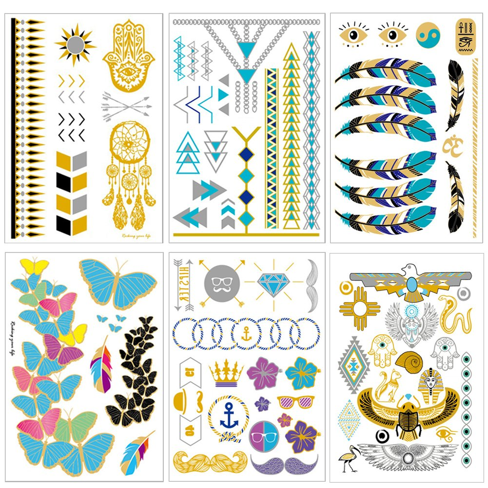 Temporary Tattoos for Women Girls Waterproof Tattoo Stickers Metallic Tattoos for Body, LITOON Temporary Tattoos in Gold and Silver 6 Sheets, 210x150mm
