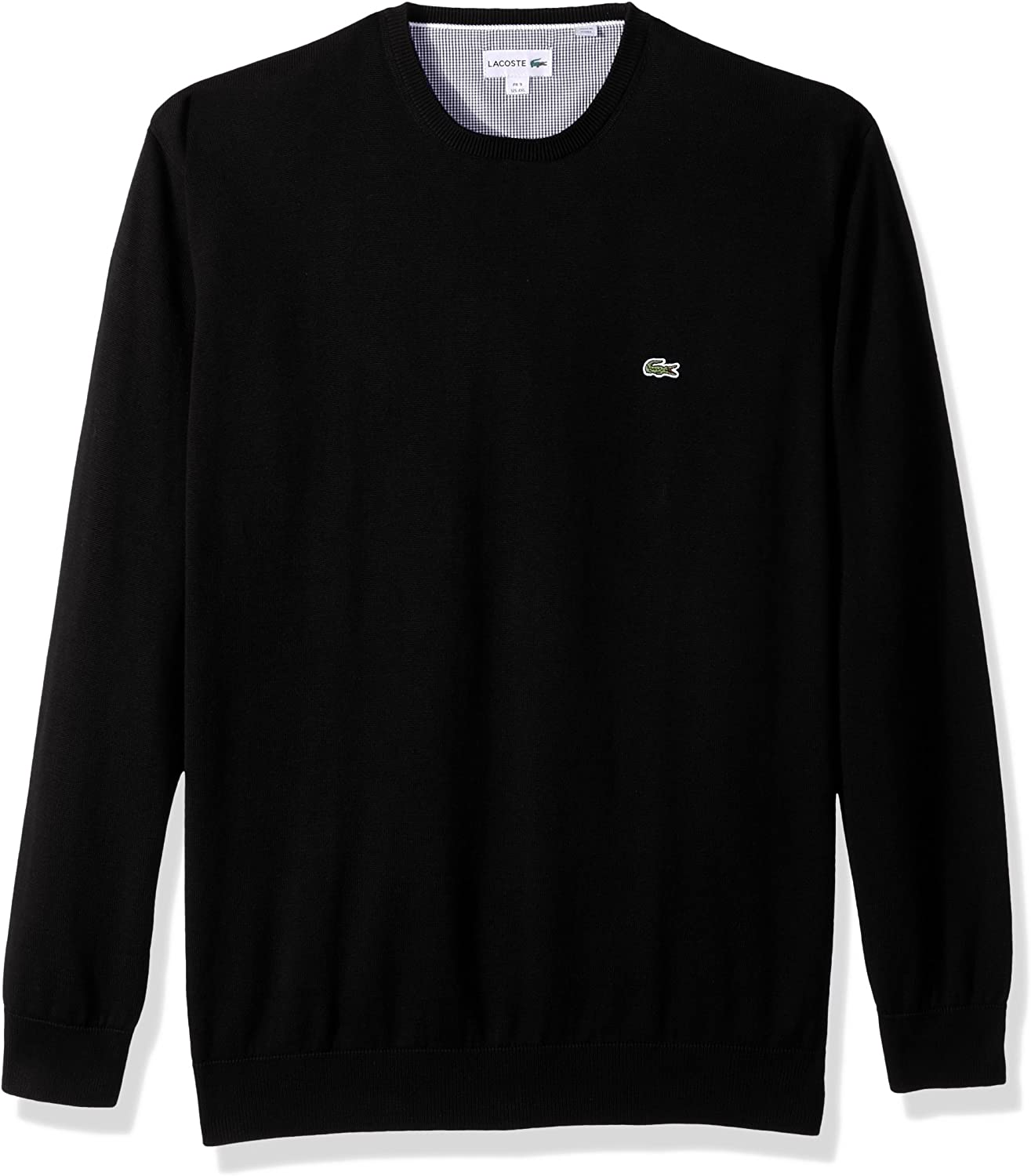 Lacoste Mens Crewneck Cotton Jersey Sweater with Green Croc