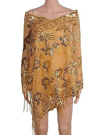 """Vijiv Womens 1920s Sequin Shawl Wraps Cape Shrug For Gatsby Bridal Wedding Evening Dresses 21.5"""""""