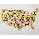 USA Beer Cap Map - Ultra Detailed Glossy Wood Bottle Cap Holder - Skyline Workshop
