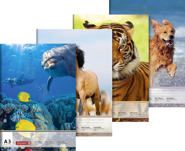 Blocco da disegno 297 x 420 mm x A3 Baier /& Schneider 10 fogli 100 g//mq copertina con motivo di animali