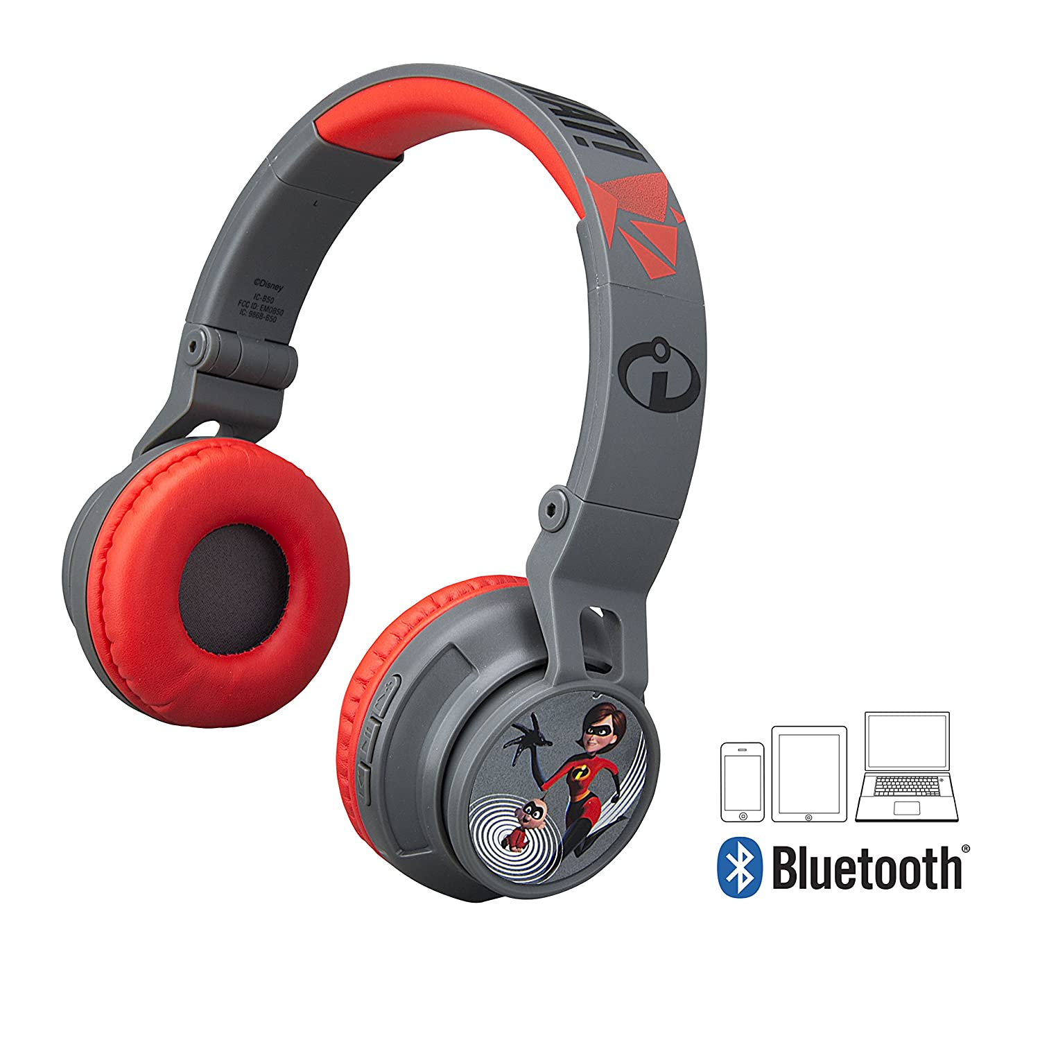 Incredibles 2 Bluetooth Headphones for Kids Wireless Rechargeable Kid Friendly Sound (Incredibles 2)