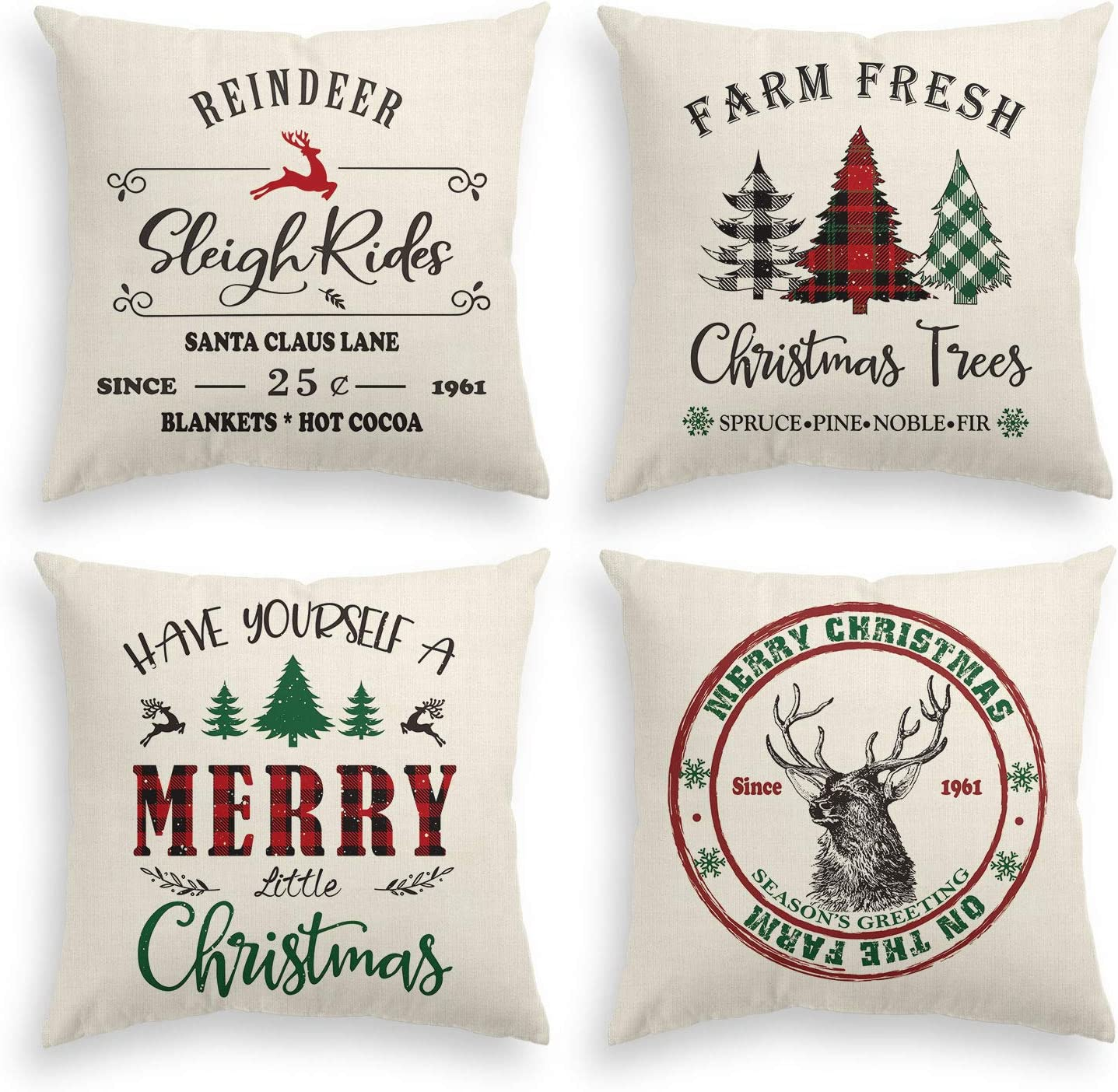 AVOIN Christmas Throw Pillow Cover, 18 x 18 Inch Winter Holiday Rustic Linen Cushion Case for Sofa Couch Set of 4