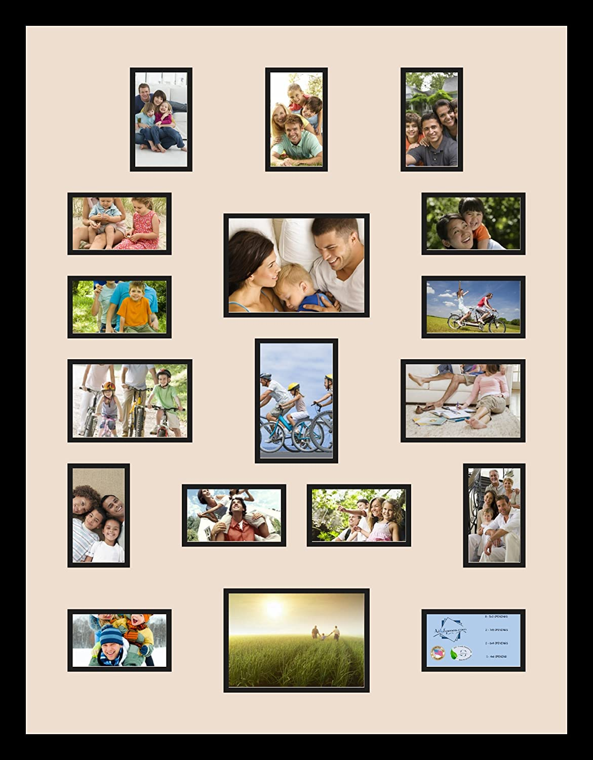 Art to Frames Double-Multimat-420-825//89-FRBW26079 Collage Photo Frame Double Mat with 2-5x7 and 3-4x6 and 13-3x5 Openings and Satin Black Frame
