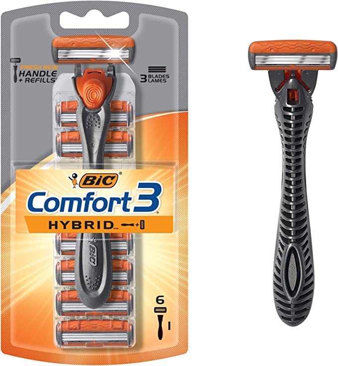 BIC Hybrid Comfort 3 Disposable/System Shaver, Men, 6-Count by BIC ...