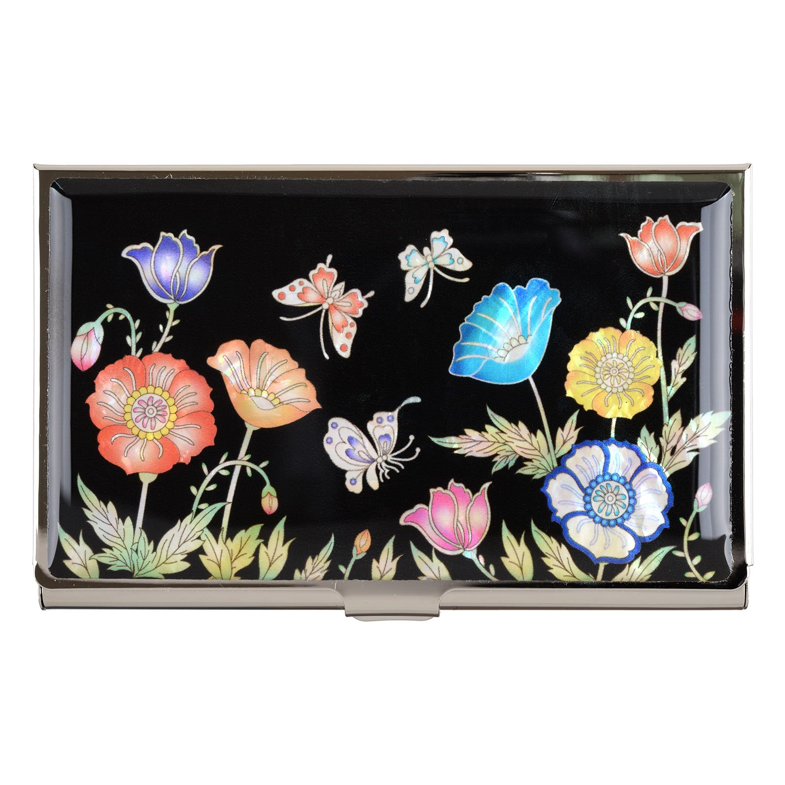 Poppy Flower Business Name Card Holder Credit Case Mother of Pearl