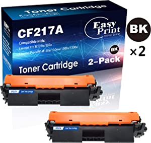 Compatible 2-Pack 17A CF217A Toner Cartridge for HP Laserjet Pro M102w M102a MFP M130a M130nw M130fn M130fw Printer (Black), by EasyPrint
