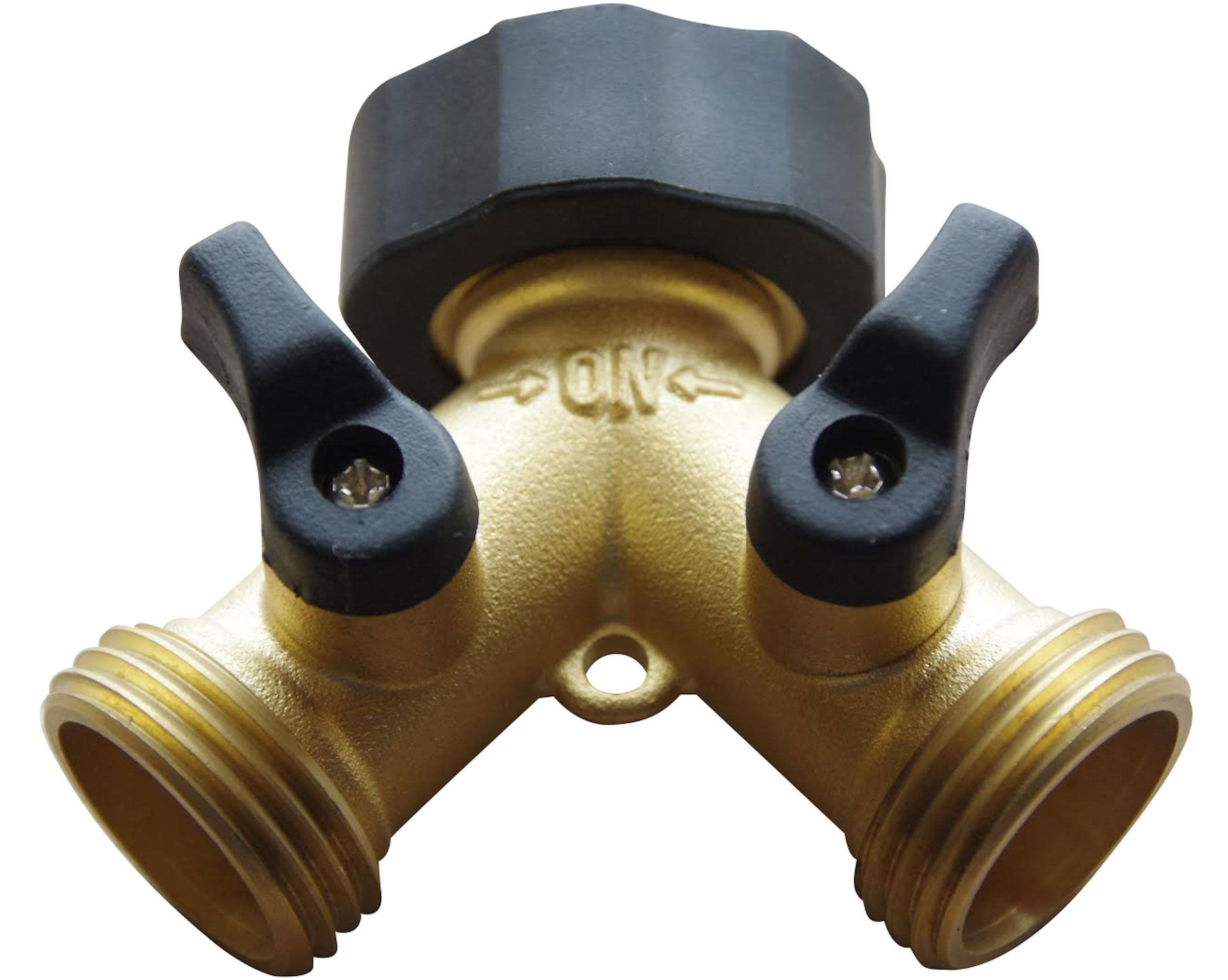 BRASS 2 WAY VALVE - Easy Turn Brass Hose Splitter Made from Durable Brass for Smart Homeowners - 2 Way Hose Splitter Full Flow for Dual Hose Garden