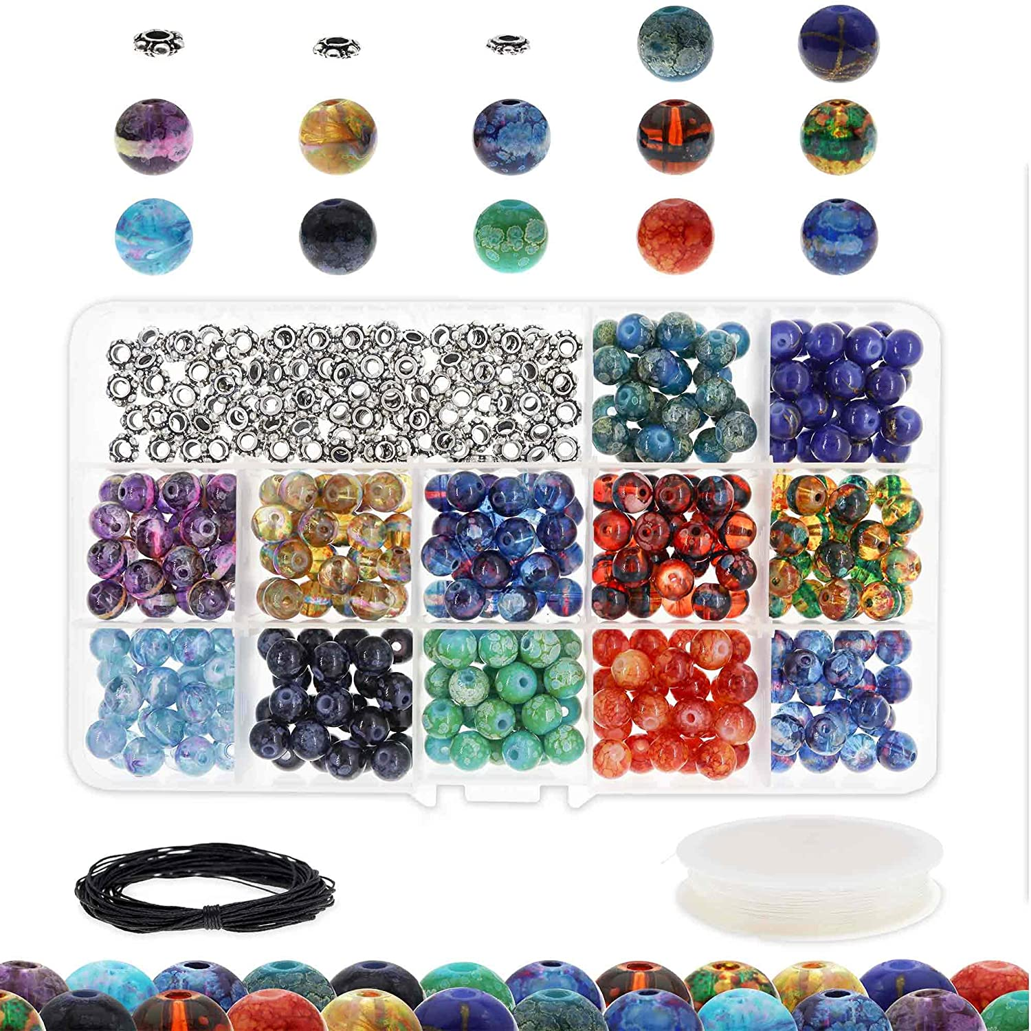 10y Stretch Cord /& 10 Meters Wax Cord Transparent Handcrafted Glass Round Beads Assortment 8mm Glass Bead Kit w// 100 Metal Silver Spacers 300 Splatter Glass Beads for Jewelry Making Adults