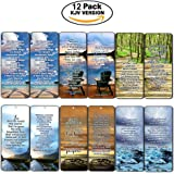 Most Highlighted Bible Verses Bookmarks Cards Bulk Set - KJV Version (12-Pack)- Religious Christian Inspirational Gifts to Encourage Men Women Boys Girls - Bible Study Sunday School War Room Decor