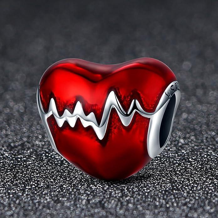Argent sterling 925/Heartbeat Perle charm c/œur en /émail rouge Charm Amour dans mon c/œur N/œud Charm Perles
