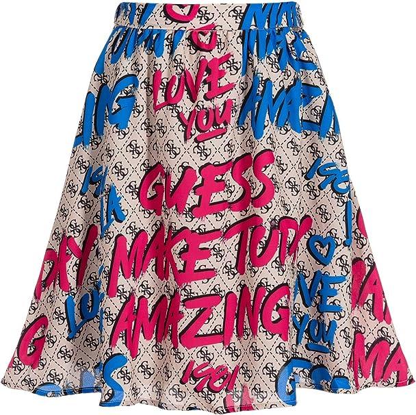 Guess - Falda de crepé para niña, Color Beige, Fucsia y Azul ...