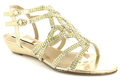9fa03a7329a Comfort Plus WOMENS LADIES WIDE FIT GOLD SANDALS WEDDING BRIDAL BRIDESMAID  DIAMANTE SHOES WIDER FITTING FORMAL