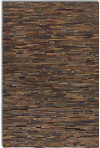Intelligent Design Rectangle Leather Patchwork Rug Brown Gray 8 x 10