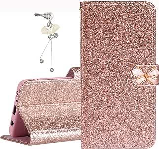 Funda para Huawei P40 Lite Oro rosa Bling Glitter PU Funda