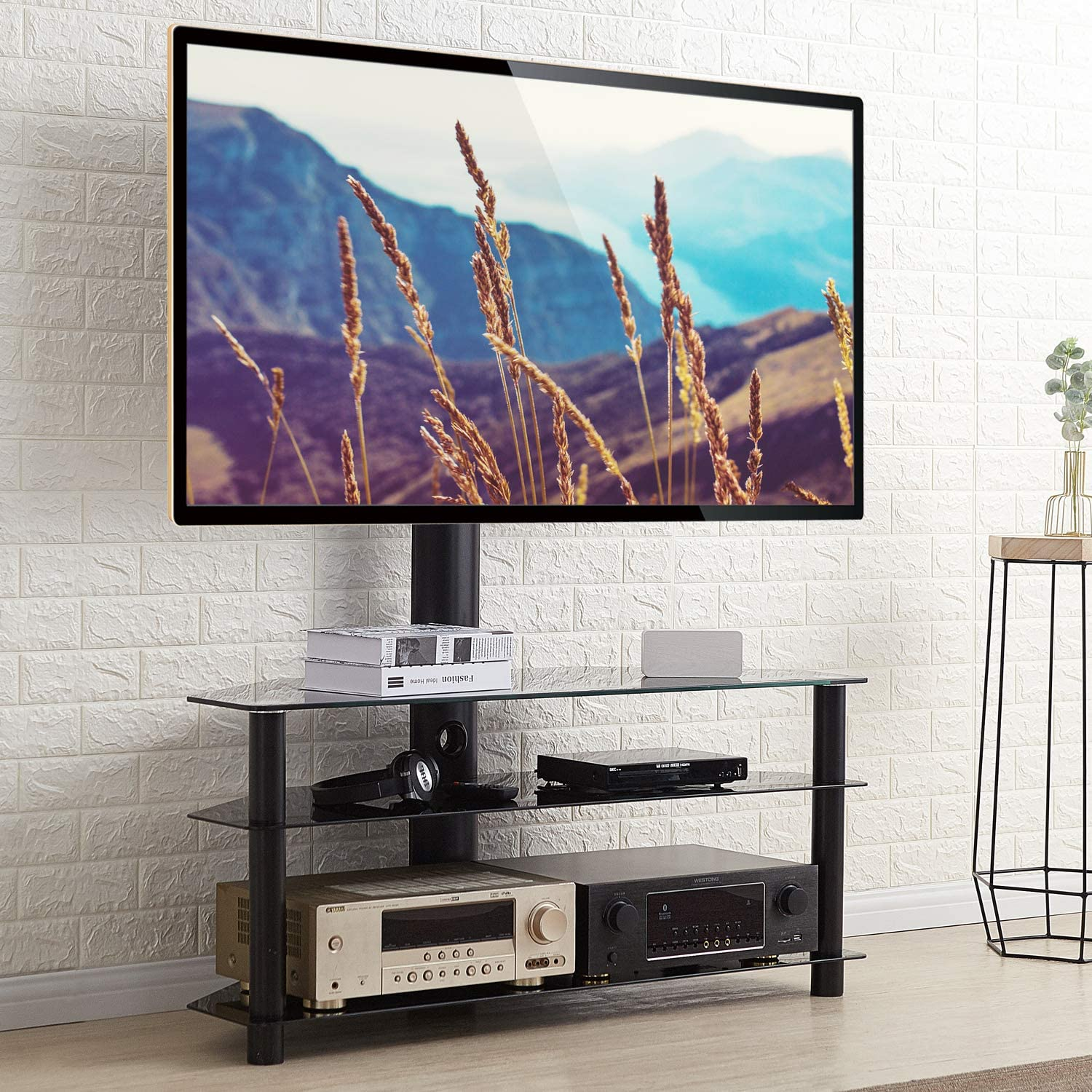 Rfiver Corner Tv Stand For Most 32 40 42 43 46 49 50 55 Amazon Co Uk Electronics