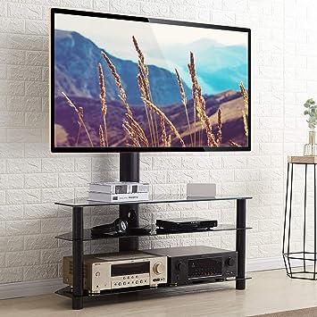 Rfiver Meuble Tv Avec Support Pivotant Hauteur Reglable Pour Tvs Et Ecrans Lcd Led De 32 A 65 Pouces 3 Etageres Tw1002