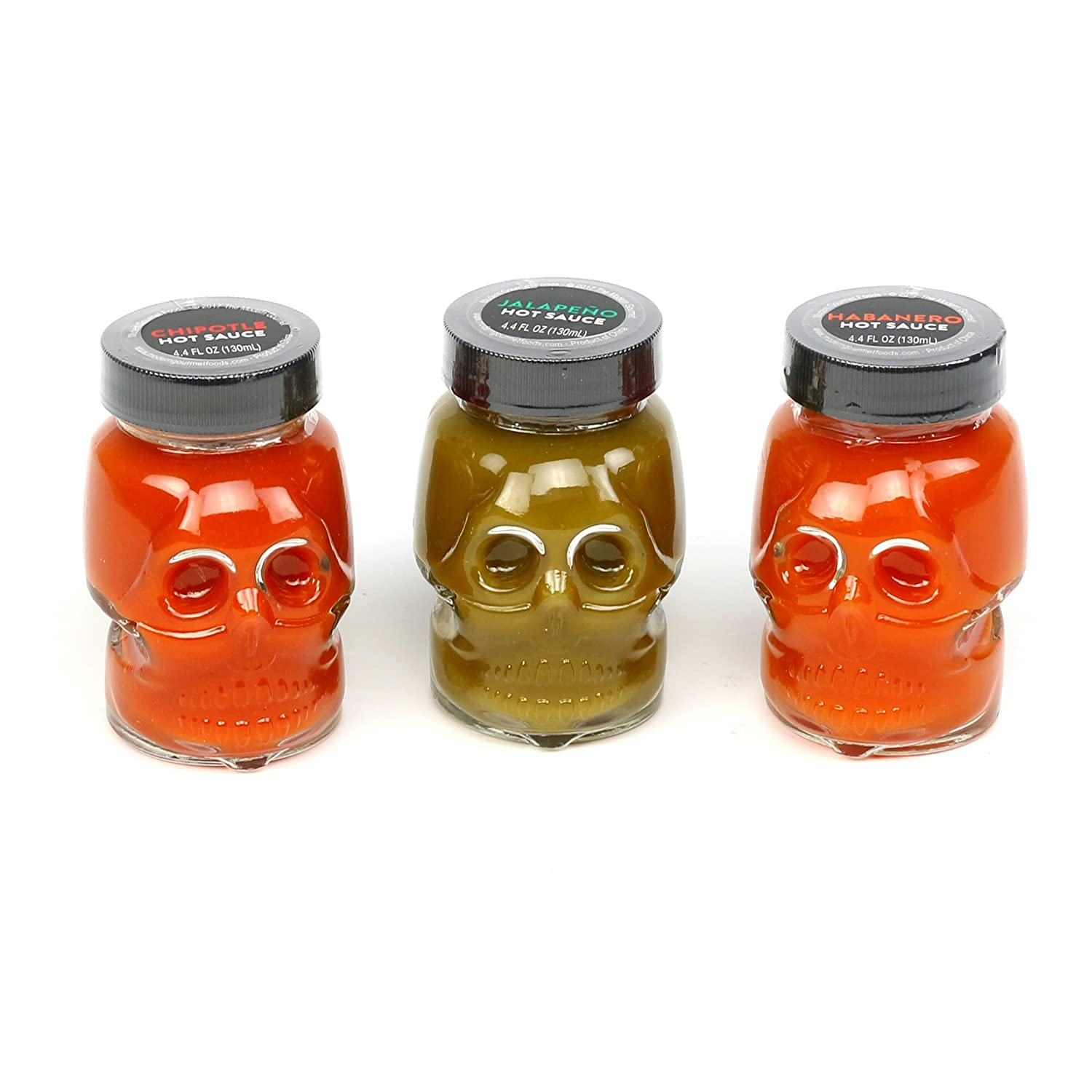 Gourmet Hot Sauce Mini Skulls - Set of 3 | Chipotle, Jalapeño, & Habanero for adding Spicy Heat and Flavor to Tacos, Pizza, Eggs, Chicken, Burgers, and more! (4.4 oz each)