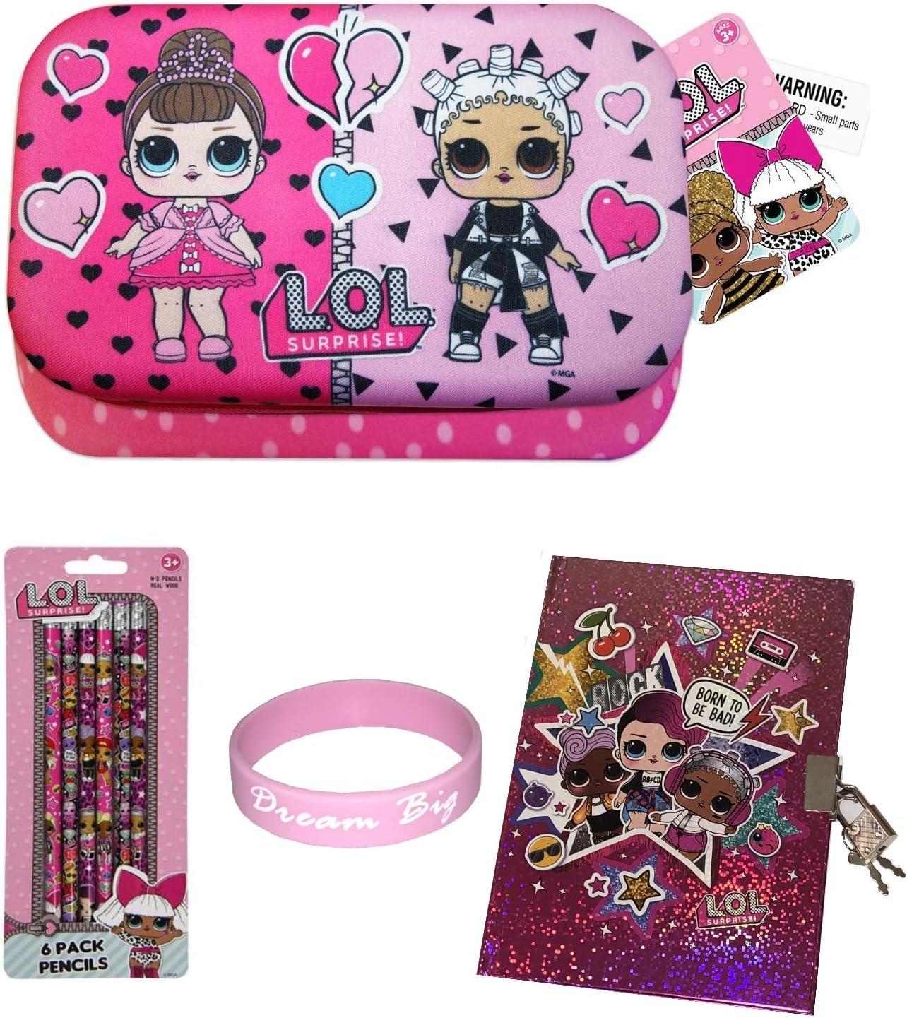 L.O.L. Surprise! Estuche de lápices con un diario lápices pulsera divertidas niñas cumpleaños regalo de la escuela Conjunto de 6 Multicolor: Amazon.es: Hogar