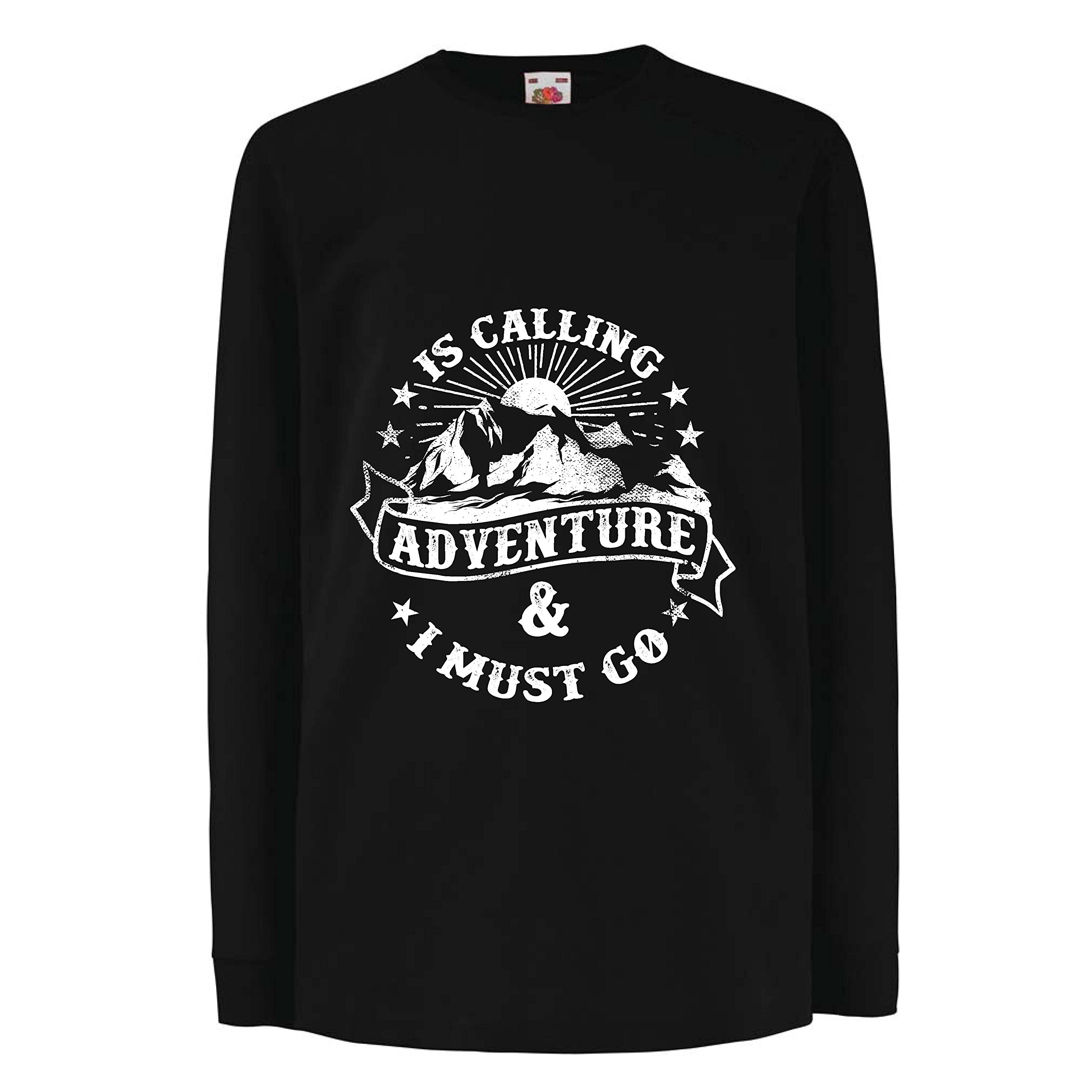 lepni.me Kids Boys/Girls T-Shirt Is Calling Adventure - Family Holiday Vacation Clothing, Mountain Hiking (14-15 Years Black Multi Color) by lepni.me