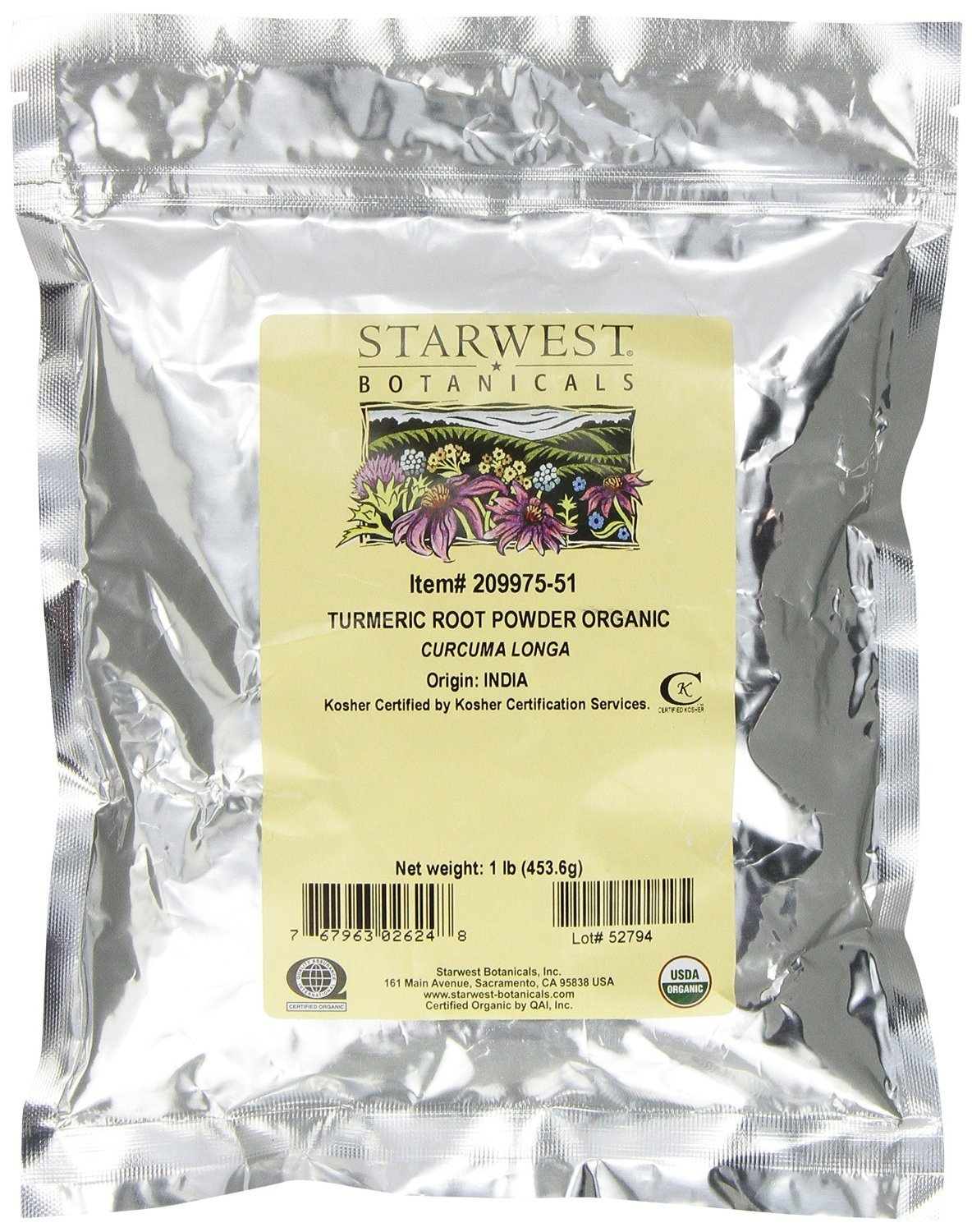 Starwest Botanicals Organic Turmeric Root Powder, 1 lb. (Pack of 3)