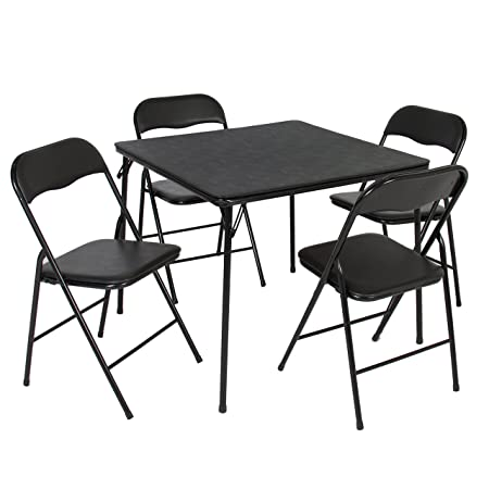 Best Choice Products 5-Piece Home Multipurpose Dining Set w Folding Table and Chairs – Black