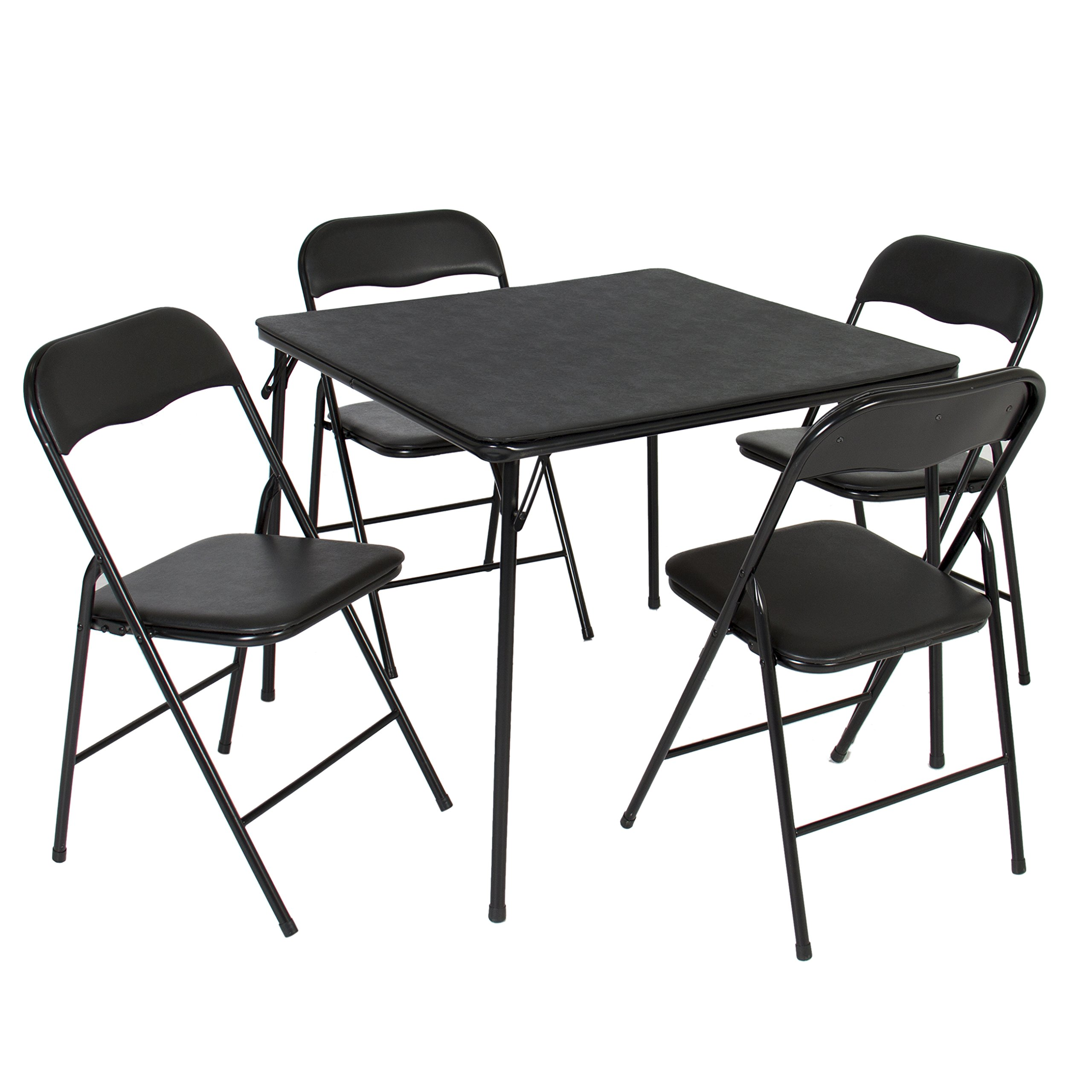 Best Choice Products 5-Piece Home Multipurpose Dining Set w/Folding Table and Chairs - Black