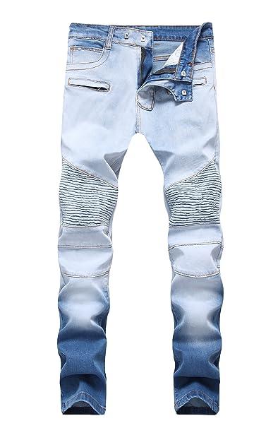 Amazon.com: Para hombre jeans ajustados, azul y blanco de ...