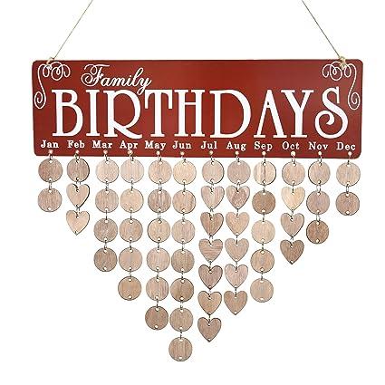 Amazon Com Jhyq Us Family Birthday Calendar Wooden Crafts Wall