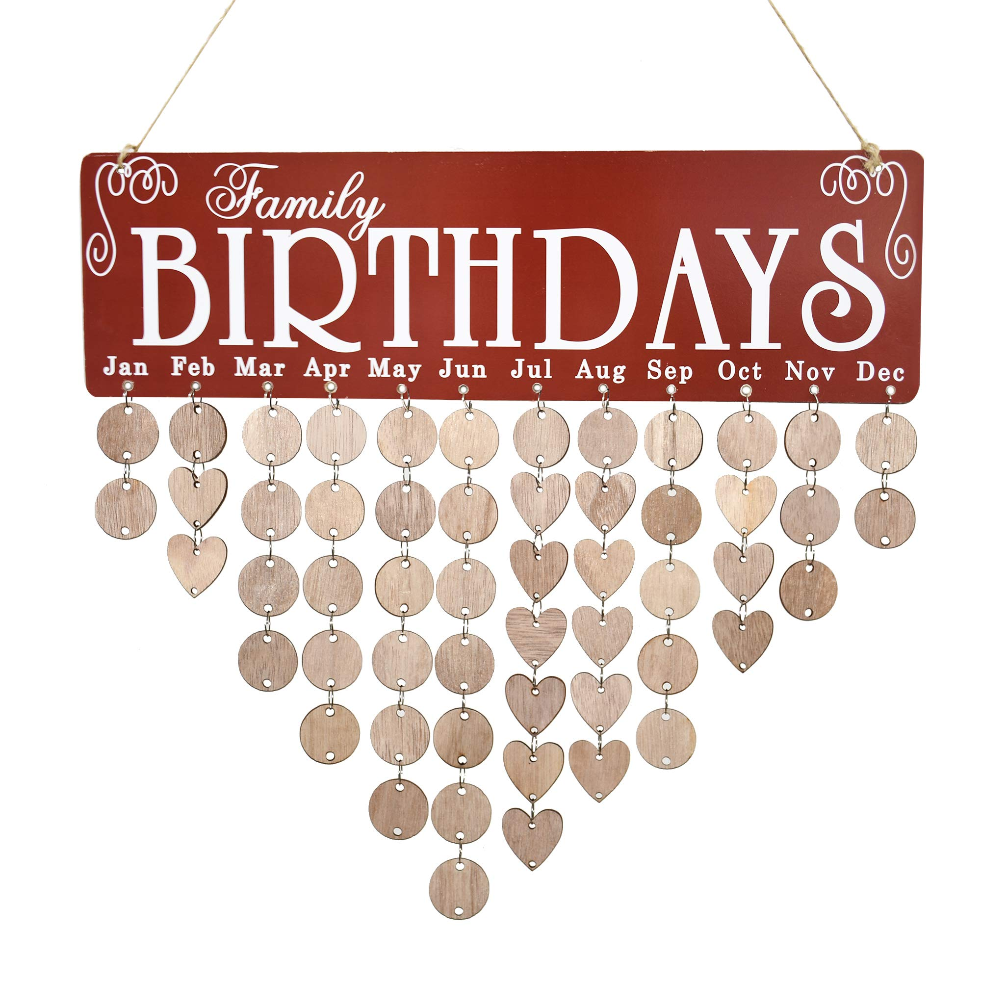 JHYQ-US Family Birthday Calendar Wooden Crafts Wall Hanging Plaque Board for Family Friends Birthday Reminder with 50 Pieces Wooden DIY Discs Hanging One by One