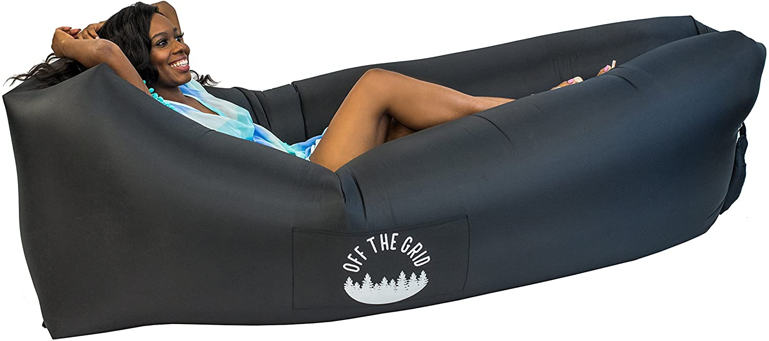 Kacniohen Inflatable Lounger Waterproof Anti-Air Leaking Air Bed Lounger Couch Chair Hangout Camping Beach Lazy Bean Bag