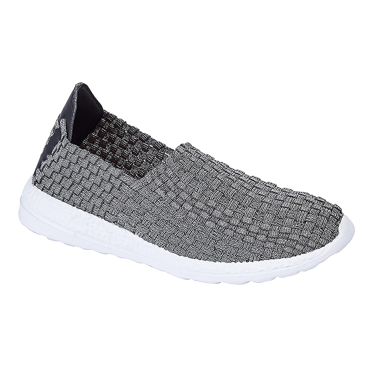 d75e35bd9c15 Shumo META Weave Ladies Memory Foam Woven Elastic Trainers Silver   Amazon.co.uk  Shoes   Bags