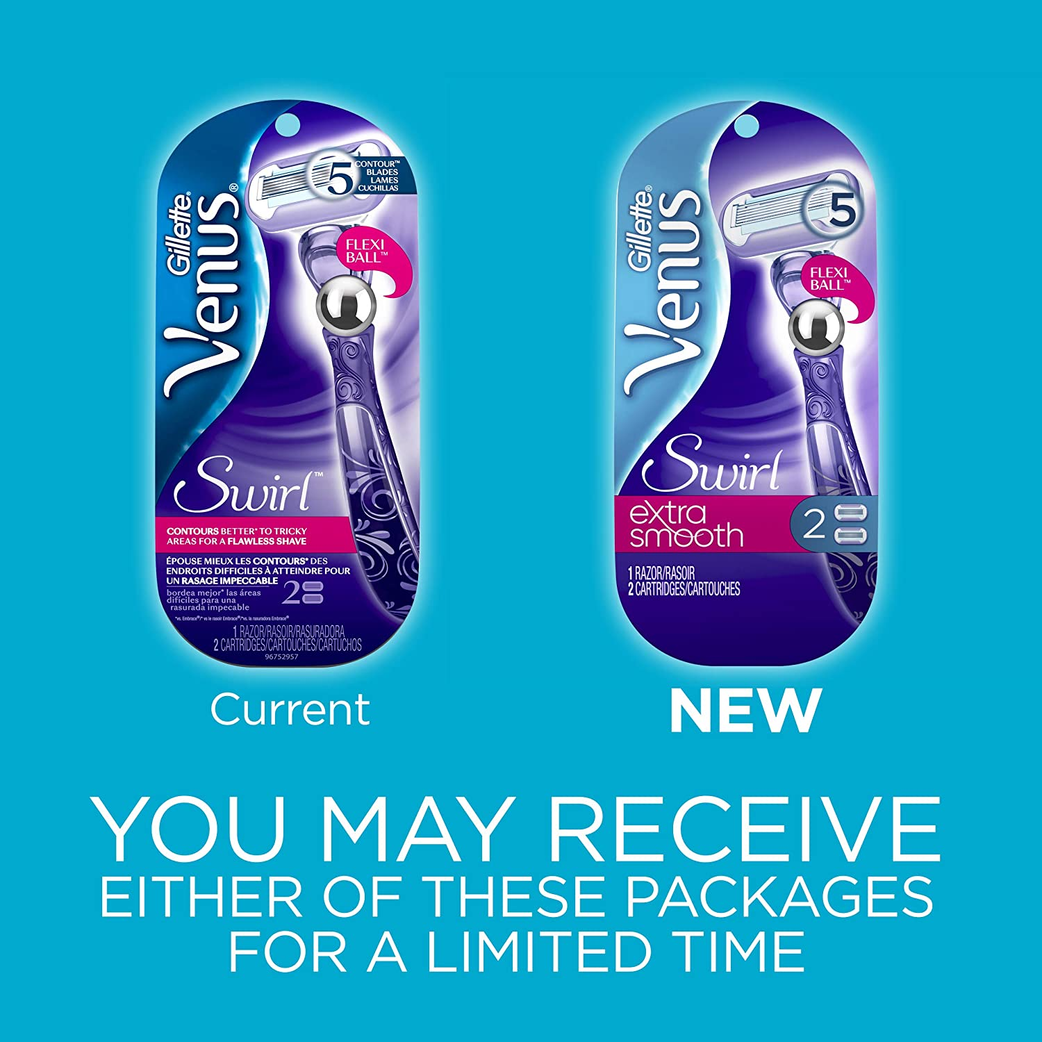 Gillette Venus Extra Smooth Swirl Women's Razor - 1 Handle + 2 Refills  (Packaging May Vary)
