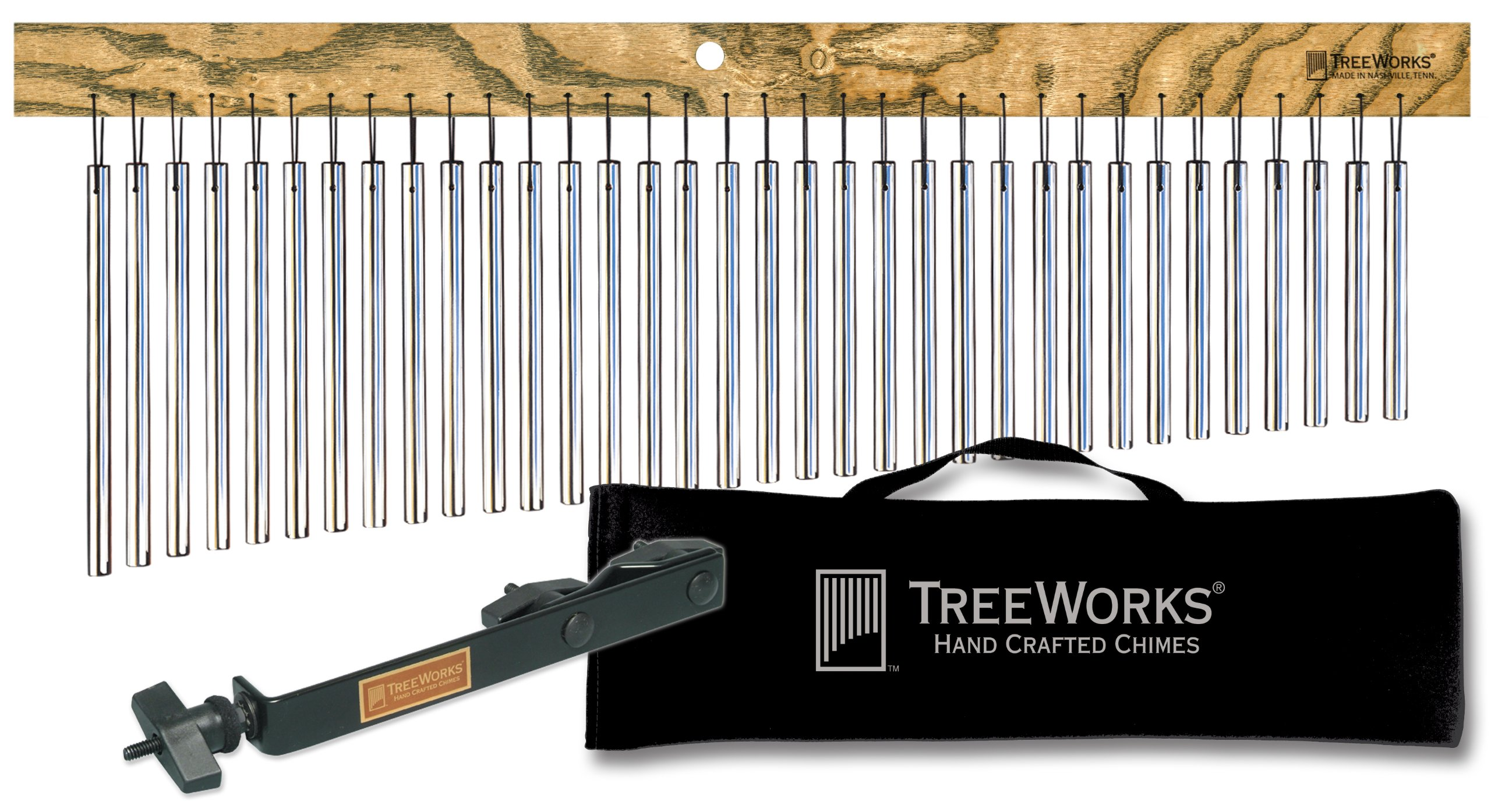 TreeWorks Chimes TRE35kit Made in USA Complete Large Single Row Chime Set with Mount and Travel Bag by TreeWorks Chimes