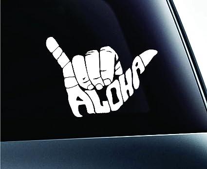 5cbc3c7073ae ExpressDecor Shaka Aloha Hand Hawaii Symbol Decal Funny Car Truck Sticker  Window (White)