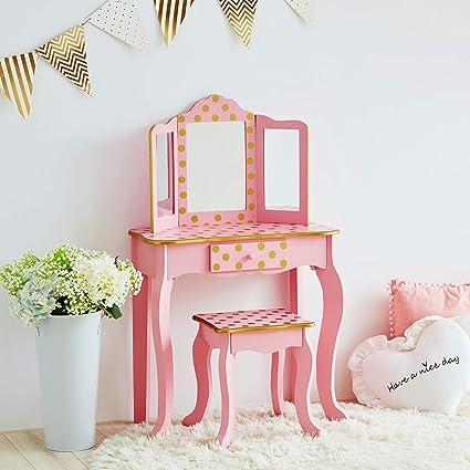 Teamson Kids Fashion Polka Dot Prints Coiffeuse Enfant Mdf Et Bois Massif Respectueux De L Environnement Pink Gold