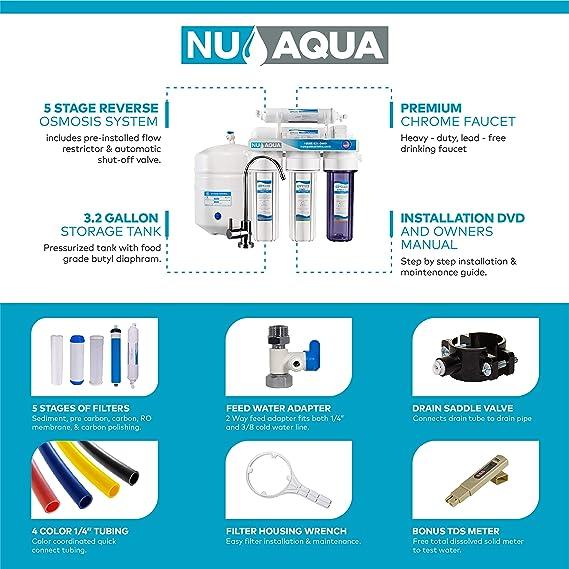 Nos Aqua Platinum Series – Alta capacidad 5-Stage bajo fregadero de 100 GPD Ultimate de ósmosis inversa purificador ...