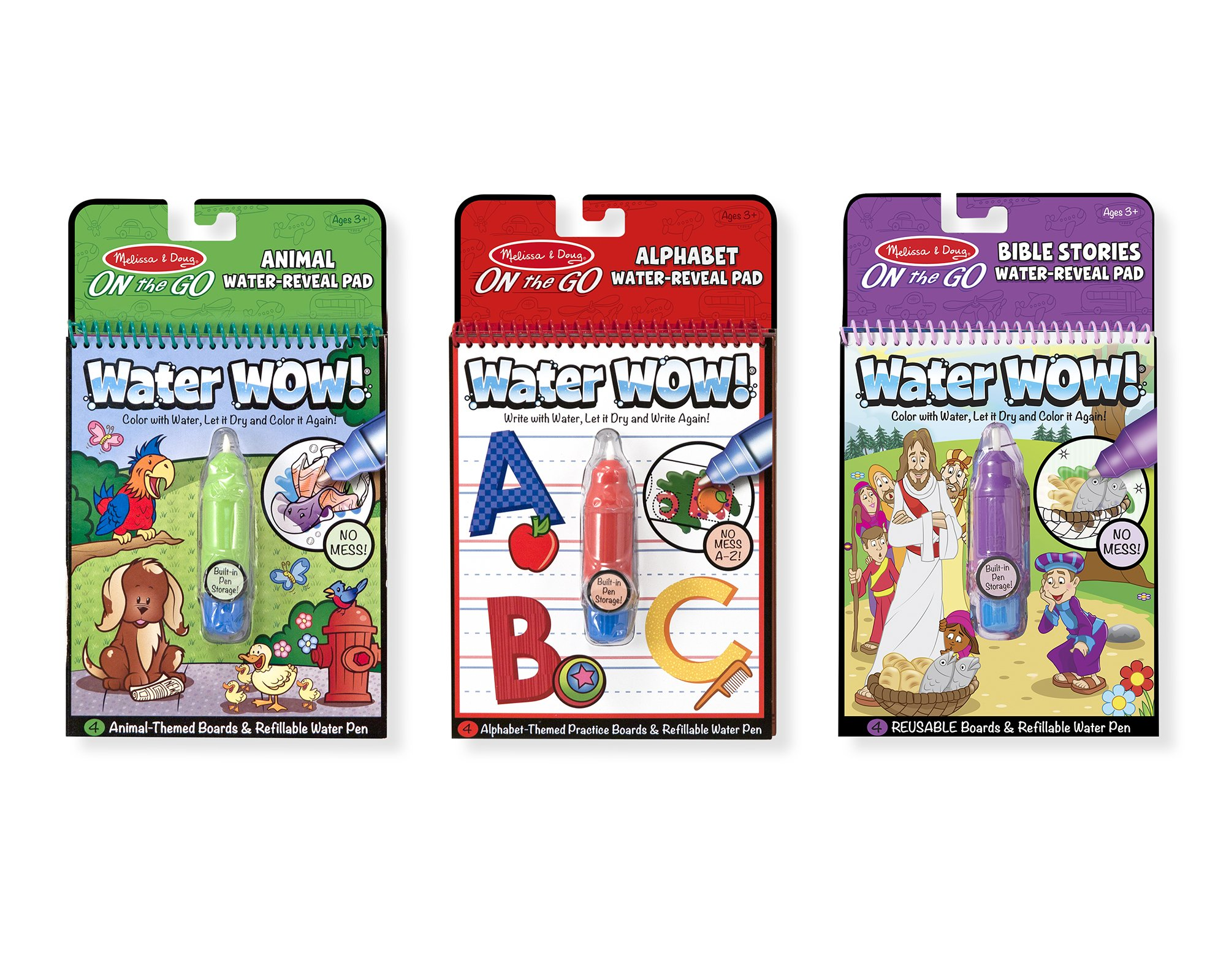 Melissa & Doug On the Go Water Wow! Reusable Water-Reveal Activity Pads,3-pk, Animals, Alphabet, Bible Stories
