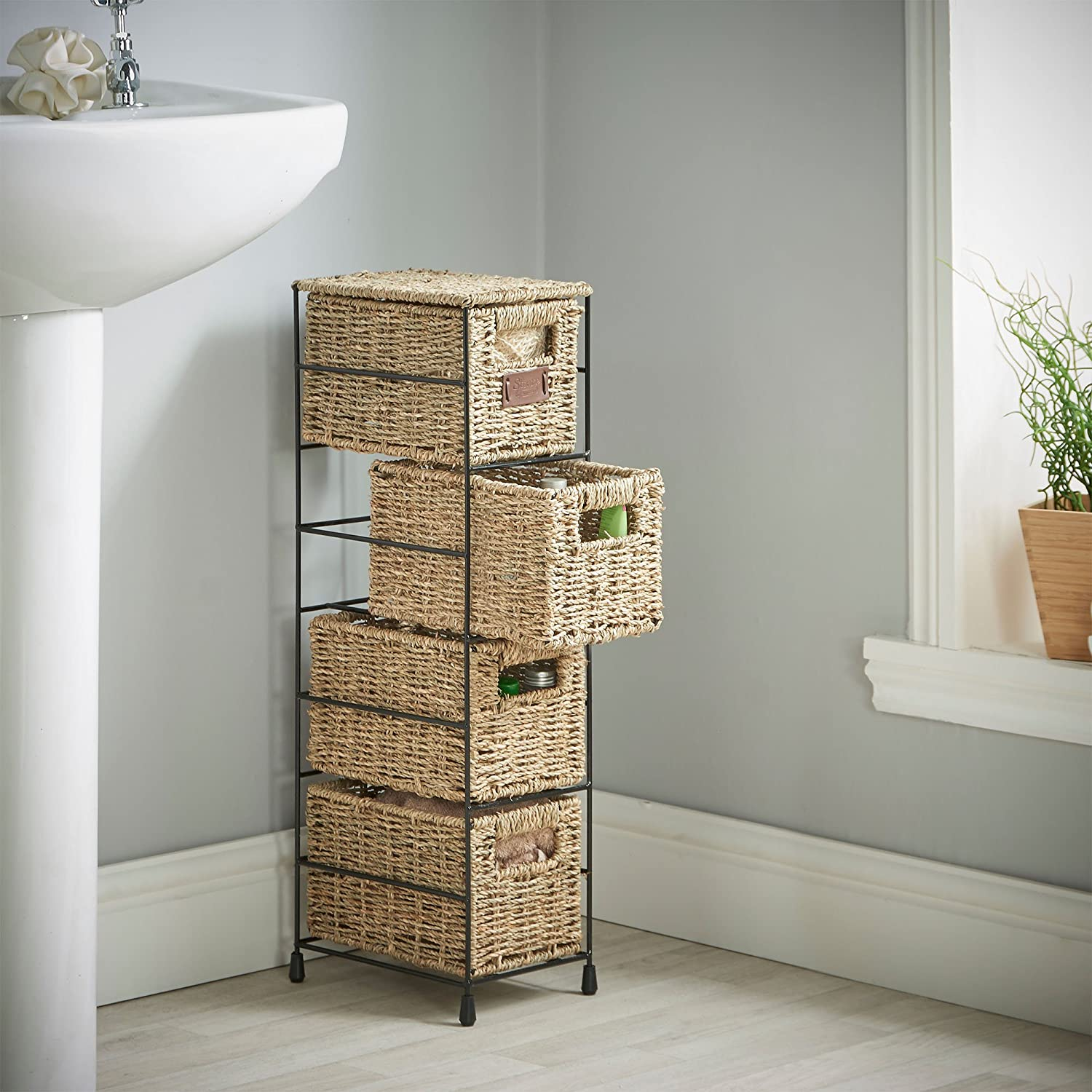 Superieur Amazon.com: VonHaus 4 Tier Small Seagrass Basket Storage Tower Unit With  Metal Frame   Ideal For Small Bathrooms U0026 Home Storage (H25.4 X W9.5 X  D6.7): Home ...