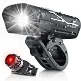 [Updated 2021 Version] USB Rechargeable Super Bike Headlight and Back Light Set, Runtime 10+ Hours 600 Lumen Bright Front Lig