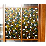 CottonColors Premium No-Glue 3D Static Stained Decorative Privacy Window Film for Bathroom Office Kitchen Stones Pattern 3Ft X 6.5Ft (90CM x 200Cm)