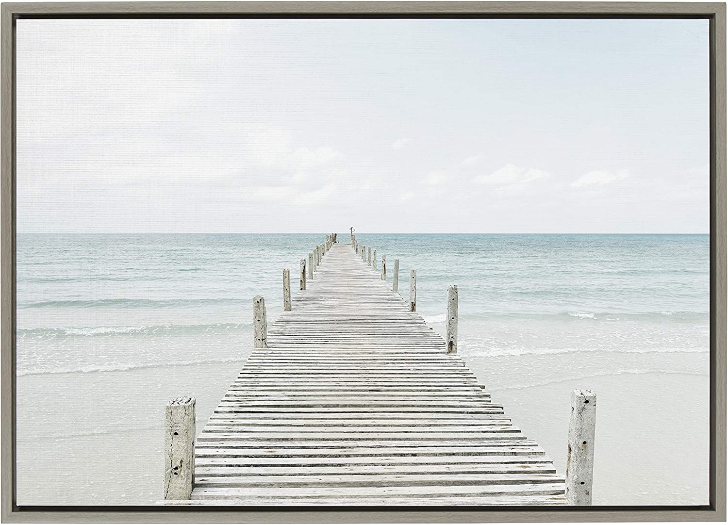 Kate and Laurel Sylvie Wooden Pier On The Beach Framed Canvas by Amy Peterson, 23x33 Gray, Coastal Calming Wall Decor for Your Living Room, Bedroom, Or Bathroom