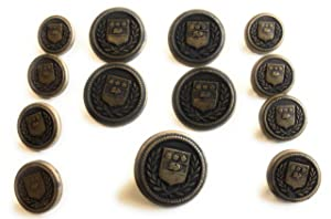 Antique Brass Buttons SET Military Crest Style for Sport coats,Suits 13 pc. Brass Buttons